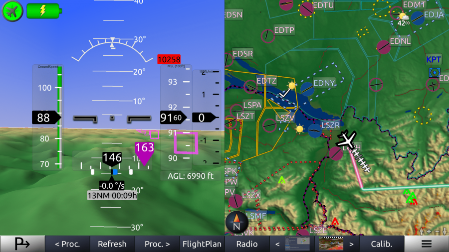 horizon glass cockpit screenshot split map weather