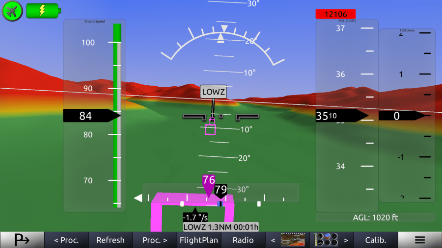 horizon glass cockpit screenshot synthetic vision
